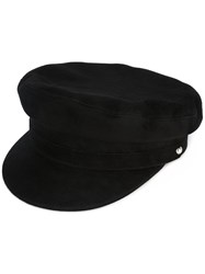 Manokhi Suede Officer's Cap Women Leather One Size Black