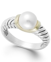 Macy's Cultured Freshwater Pearl Rope Ring In 14K Gold And Sterling Silver 8Mm