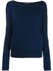 Zanone Relaxed Fit Knit Sweater Blue
