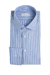 Etro Striped Linen Cotton Shirt Blue