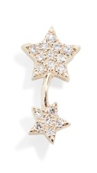 Ef Collection 14K Single Diamond Double Star Stud Earring Yellow Gold Diamond