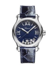 Chopard Happy Sport Diamond Stainless Steel And Leather Strap Watch Navy