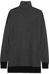 Michael Michael Kors Two Tone Merino Wool Blend Turtleneck Sweater Dark Gray