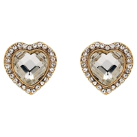 Clare Jordan Gold Plated Crystal Heart Shaped Stud Earrings Gold