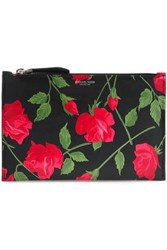 Michael Kors Collection Woman Floral Print Leather Pouch Black