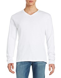 Calvin Klein Ribbed Cotton V Neck Shirt White