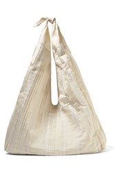 The Row Bindle Pleated Silk Organza Shoulder Bag Cream