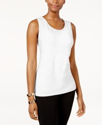 Jm Collection Petite Jacquard Tank Only At Macy's Bright White