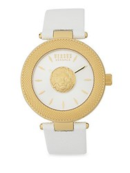 Versus By Versace Yellow Goldtone Stainless Steel Mini Lion Sculpture Leather Strap Watch