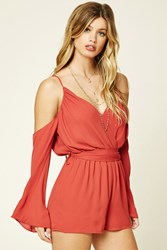 Forever 21 Ruched Open Shoulder Romper Brick