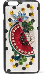 Dolce And Gabbana Embellished Printed Textured Leather Iphone 7 Plus Case White