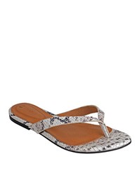 Corso Como Volley Snake Embossed Thong Sandals Off White