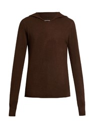 Denis Colomb Hand Knitted Cashmere Hooded Sweater Brown