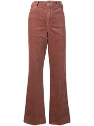 Closed Wide Leg Corduroy Trousers Pink