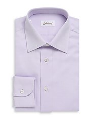 Brioni Plain Cotton Button Down Dress Shirt Purple