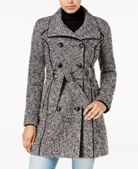 Guess Double Breasted Tweed Walker Coat B W Tweed