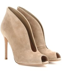 Gianvito Rossi Vamp Suede Peep Toe Ankle Boots Brown