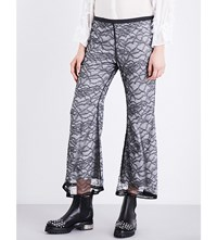Koche Floral Lace Overlay Stretch Satin Trousers Black