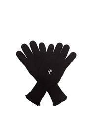 Raf Simons Embroidered Wool Knit Gloves Black