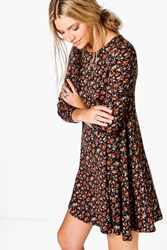 Boohoo Ditsy Brushed Knit Floral Swing Dress Black