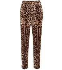 Dolce And Gabbana Printed High Rise Straight Pants Brown