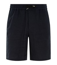 Sandro Linen Drawstring Shorts Blue