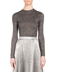 Christopher Kane Long Sleeve Metallic Knit Top Silver