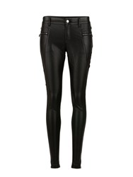 Morgan Faux Leather And Knit Biker Pants Black