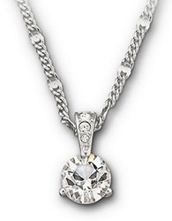 Swarovski Round Solitaire Crystal Pendant Necklace Silver