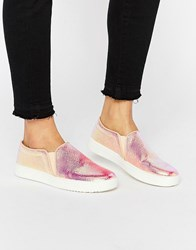 Mango Snake Effect Slip On Trainers Metallic Gold