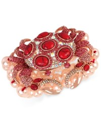 Betsey Johnson Rose Gold Tone Large Stone And Crystal Crab And Imitation Pearl Stretch Bracelet