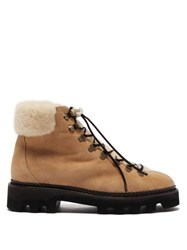 Nicholas Kirkwood Delfi Shearling And Suede Hiking Boots Beige