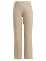 J.W.Anderson Contrast Pocket Straight Leg Cotton Jeans Ivory