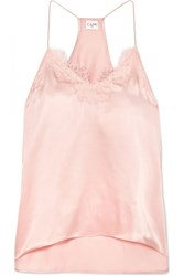Cami Nyc Racer Lace Trimmed Silk Charmeuse Camisole Blush