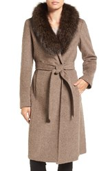 Ellen Tracy Women's Genuine Fox Collar Wool Blend Long Wrap Coat New Taupe