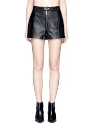 3.1 Phillip Lim Zip Front Lambskin Leather Shorts Black