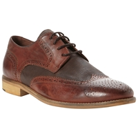 Bertie Aston 2 Tone Brogue Derby Shoes Brown