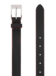 Topman Black And Red Leather Slim Belt