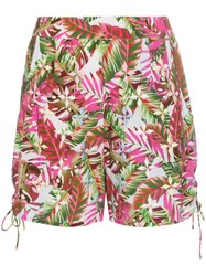 All Things Mochi Tropical Print Side Tie Cotton Shorts Pink And Purple