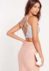 Missguided Criss Cross Strap Back Bandage Bralet Grey No