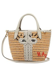 Anya Hindmarch The Neeson Mini Leather And Straw Tote Bag White Multi