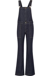Current Elliott The Clean Flare Denim Overalls Dark Denim