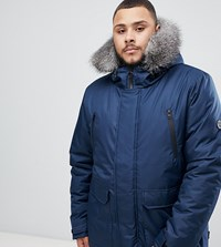 D Struct Plus Fur Trimmed Oversized Mountain Parka Durable Poly Navy