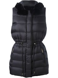 Yves Salomon Reversible Padded Gilet Blue