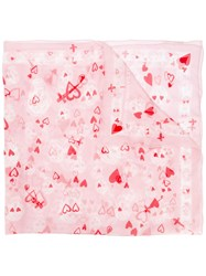 Alexander Mcqueen Heart And Skull Print Scarf Pink Purple