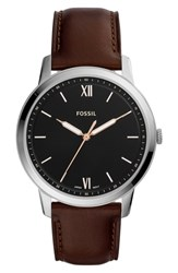 Fossil Minimalist Leather Strap Watch 44Mm Brown Black Silver