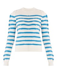 Barrie Breton Striped Cashmere Sweater White Stripe