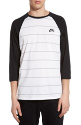 Nike Men's Sb Dri Fit Stripe Baseball T Shirt White Black