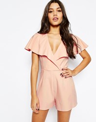 Asos Occasion Ruffle Wrap Playsuit Nude Pink