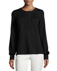 Andrew Gn Long Sleeve Half Zip Top Black